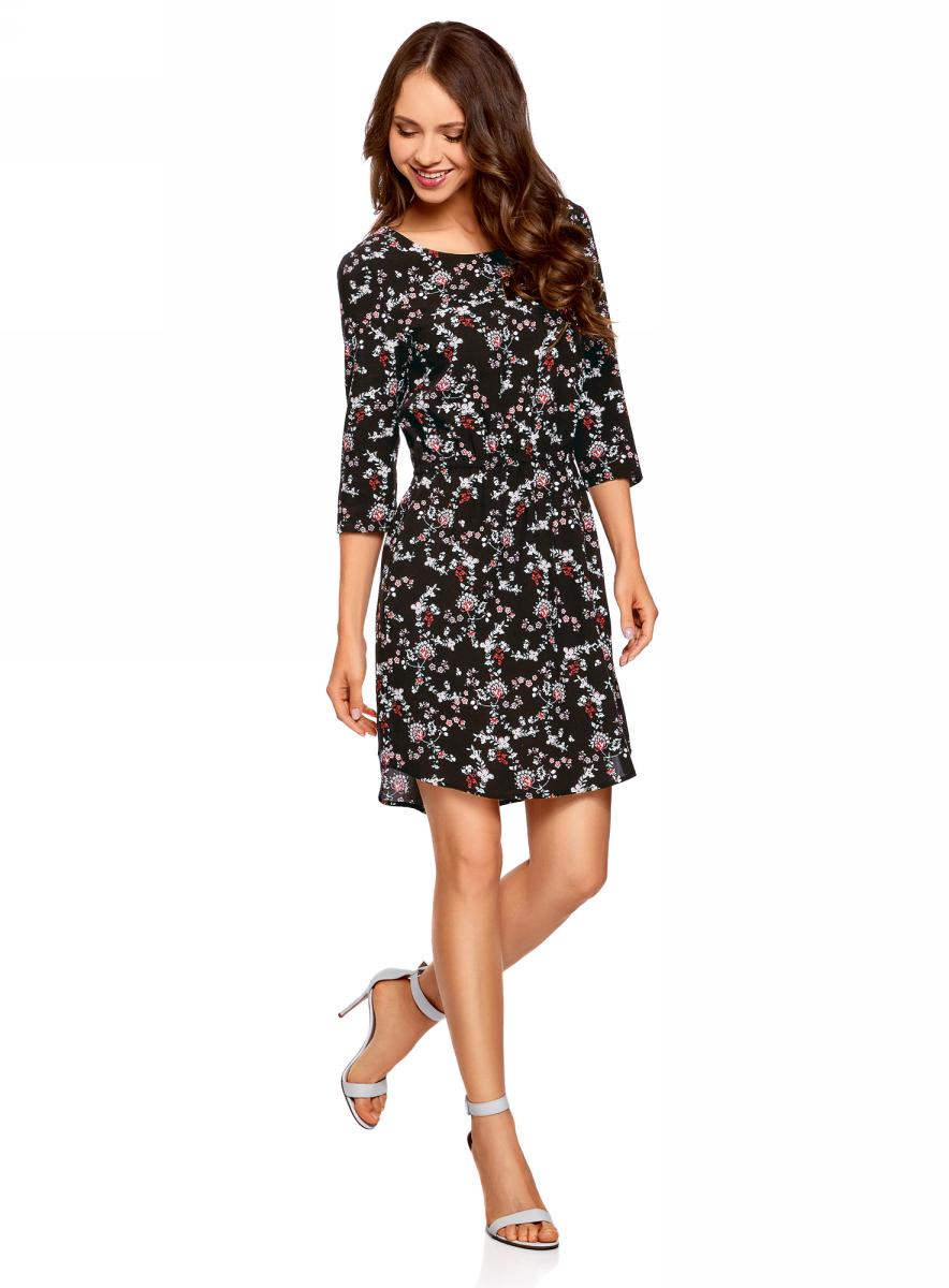 Платье oodji Ultra, цвет: черный, кремовый. 11901153-1B/42540/2930E. Размер 40 (46-170)11901153-1B/42540/2930EПлатье oodji изготовлено из качественного материала. Модель выполнена с рукавами 3/4 и круглым вырезом горловины. Платье-миди на талии собрано на внутреннюю резинку.