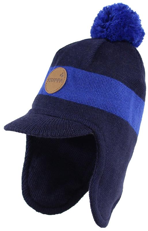 Шапка детская Huppa Peak, цвет: темно-синий, синий. 80340000-70086. Размер S (47/49)80340000-70086Теплая шапка Huppa Peak выполнена из мериносовой шерсти с добавлением акрила. Подкладка выполнена из натурального хлопка. Модель дополнена небольшим помпоном и козырьком. Шапка оснащена ветрозащитными вставками в области ушей.Уважаемые клиенты! Обращаем ваше внимание на тот факт, что размер, доступный для заказа, является обхватом головы.