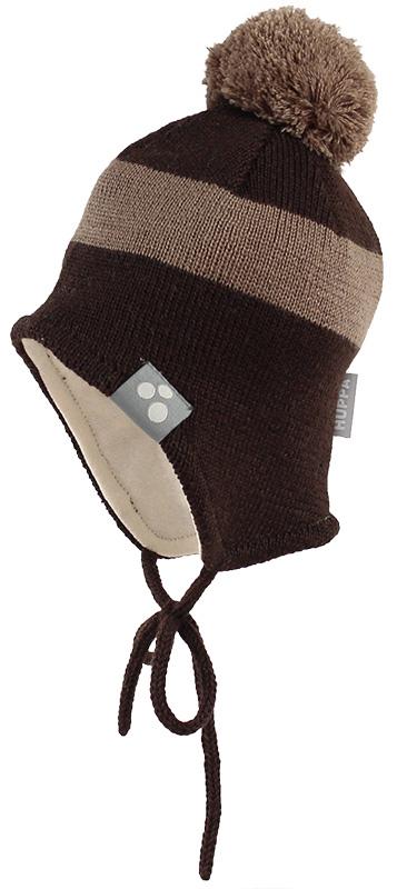 Шапка детская Huppa Viiro 1, цвет: темно-коричневый, темно-бежевый. 83620100-70081. Размер S (47/49) huppa huppa детская шапка viiro серая