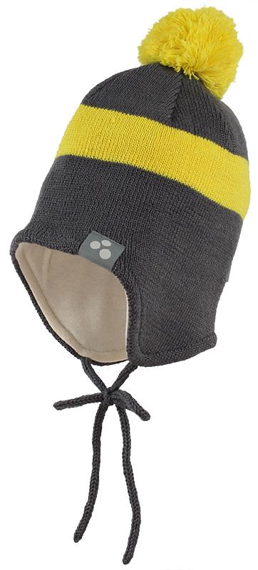 Шапка детская Huppa Viiro 1, цвет: темно-серый, желтый. 83620100-70048. Размер L (55/57)83620100-70048Теплая шапка Huppa Viiro 1 выполнена из мериносовой шерсти с добавлением акрила. Подкладка выполнена из натурального хлопка. Модель дополнена небольшим помпоном и оснащена завязками.Уважаемые клиенты! Обращаем ваше внимание на тот факт, что размер, доступный для заказа, является обхватом головы.