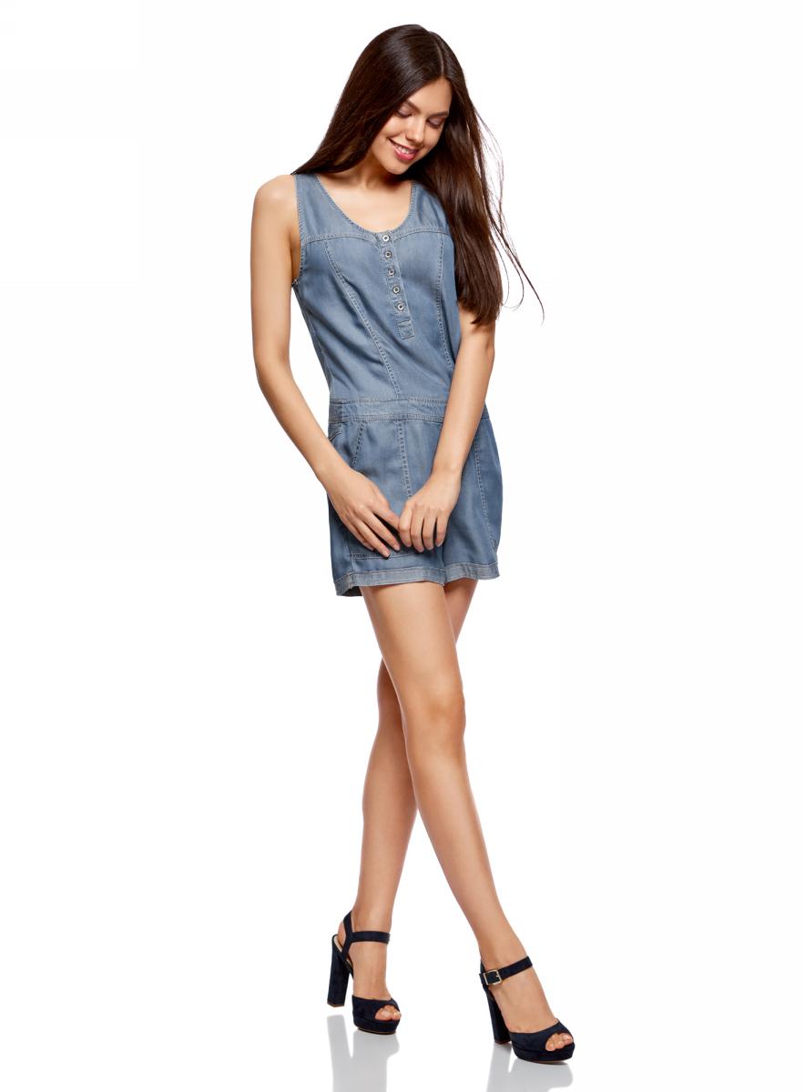 Полукомбинезон женский oodji Ultra, цвет: синий джинс. 13109062/42579/7500W. Размер 38 (44-170)13109062/42579/7500WЖенский полукомбинезон без рукавов изготовлен из качественной плотной ткани. Верх застегивается на пуговицы. Короткие шорты дополнены карманами спереди и сзади.