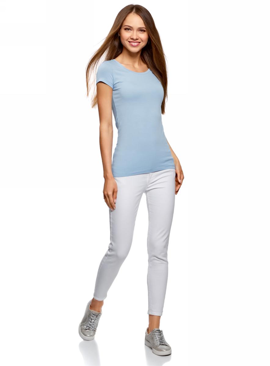 Футболка женская oodji Ultra, цвет: голубой, 2 шт. 14701005T2/46147/7000N. Размер M (46)14701005T2/46147/7000NЖенская футболка oodji Ultra выполнена из эластичного хлопка. Модель с круглым вырезом горловины и стандартными короткими рукавами.Комплект из двух футболок - практичное решение для тех, кто ценит удобство. Такая футболка станет основой для создания стильного спортивного комплекта. В ней можно заниматься спортом, гулять с домашним питомцем. Ее удобно носить в качестве домашней одежды. Футболки хорошо сочетаются с трикотажными спортивными брюками, шортами, бриджами, юбками.Прекрасная модель для самых разных случаев!