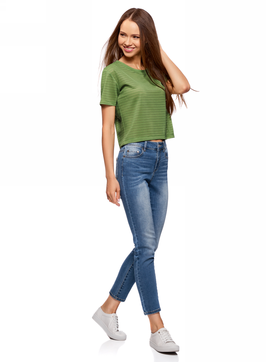 Футболка женская oodji Ultra, цвет: зеленый. 15F01002-2/46690/6200N. Размер M (46)15F01002-2/46690/6200NПолупрозрачная женская футболка oodji с короткими рукавами и круглым вырезом горловины выполнена из полиэстера с добавлением эластана. Отличная модель для повседневной носки.
