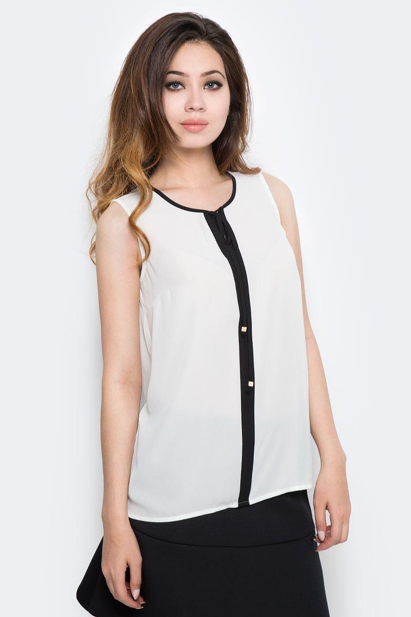 Блузка женская Sela, цвет: белый. Twsl-112/1290-7370. Размер 44Twsl-112/1290-7370Стильная женская блузка от Sela выполнена из высококачественного материала. Модель свободного кроя с круглым вырезом горловины и без рукавов.