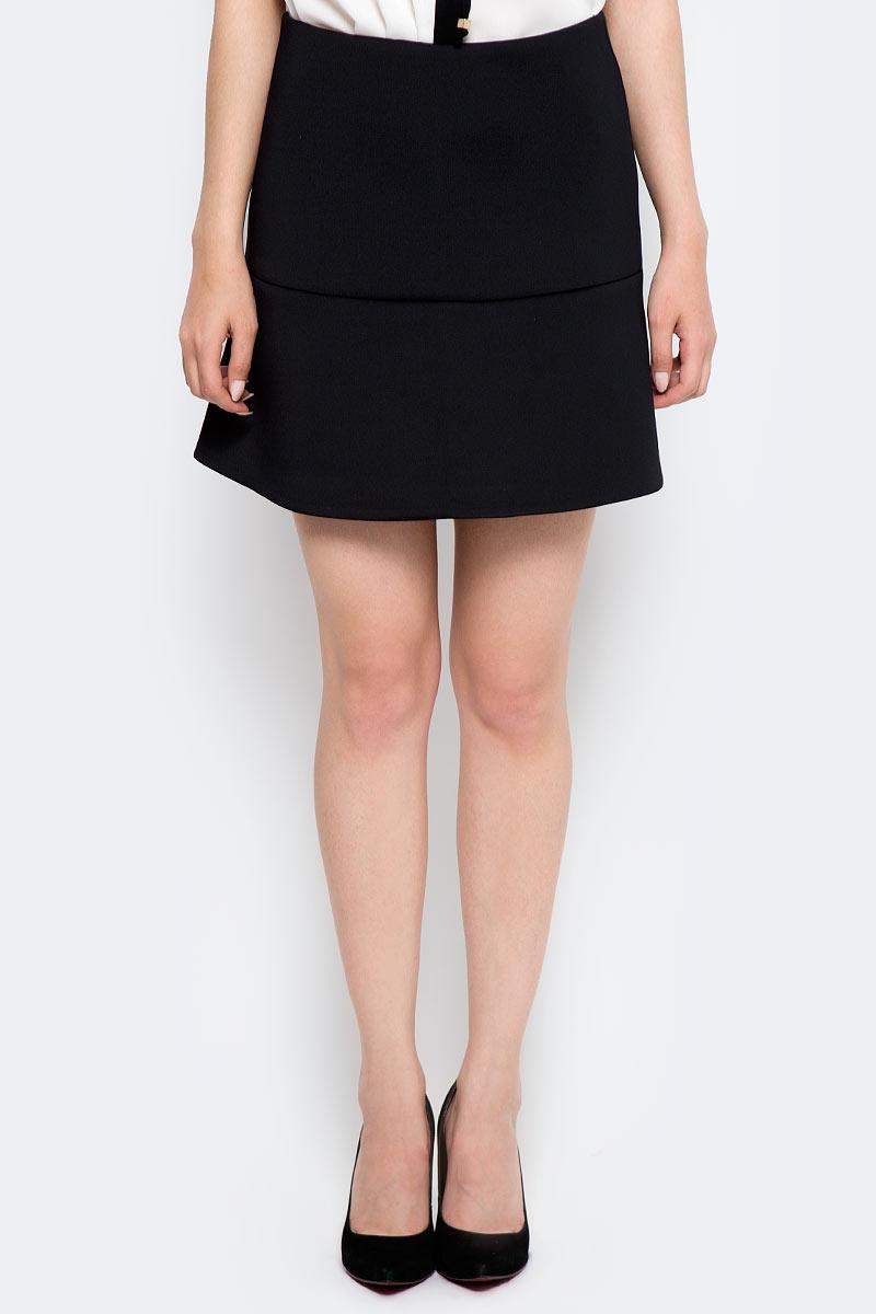 Юбка женская Sela, цвет: черный. SKk-318/854-7310. Размер XS (42) sela шарф