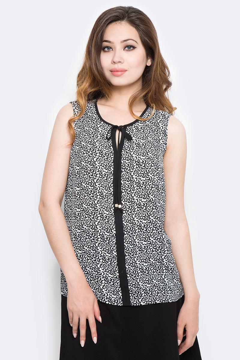 Блузка женская Sela, цвет: черный, белый. Twsl-112/1290-7370P. Размер 48