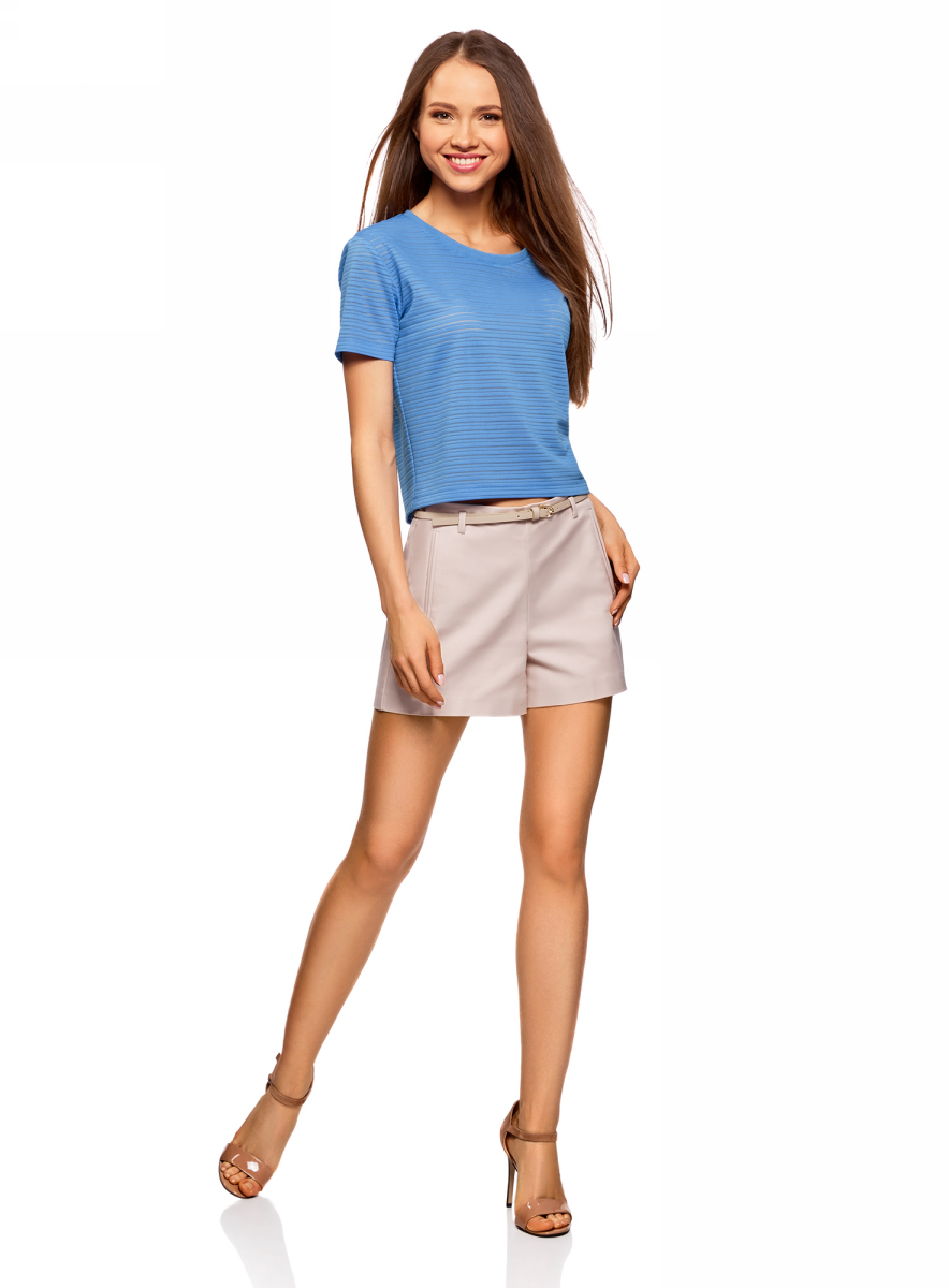 Футболка женская oodji Ultra, цвет: синий. 15F01002-2/46690/7500N. Размер M (46)15F01002-2/46690/7500NПолупрозрачная женская футболка oodji с короткими рукавами и круглым вырезом горловины выполнена из полиэстера с добавлением эластана. Отличная модель для повседневной носки.