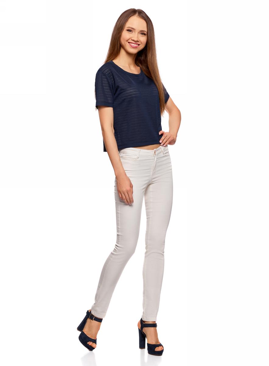 Футболка женская oodji Ultra, цвет: темно-синий. 15F01002-2/46690/7900N. Размер S (44)15F01002-2/46690/7900NПолупрозрачная женская футболка oodji с короткими рукавами и круглым вырезом горловины выполнена из полиэстера с добавлением эластана. Отличная модель для повседневной носки.