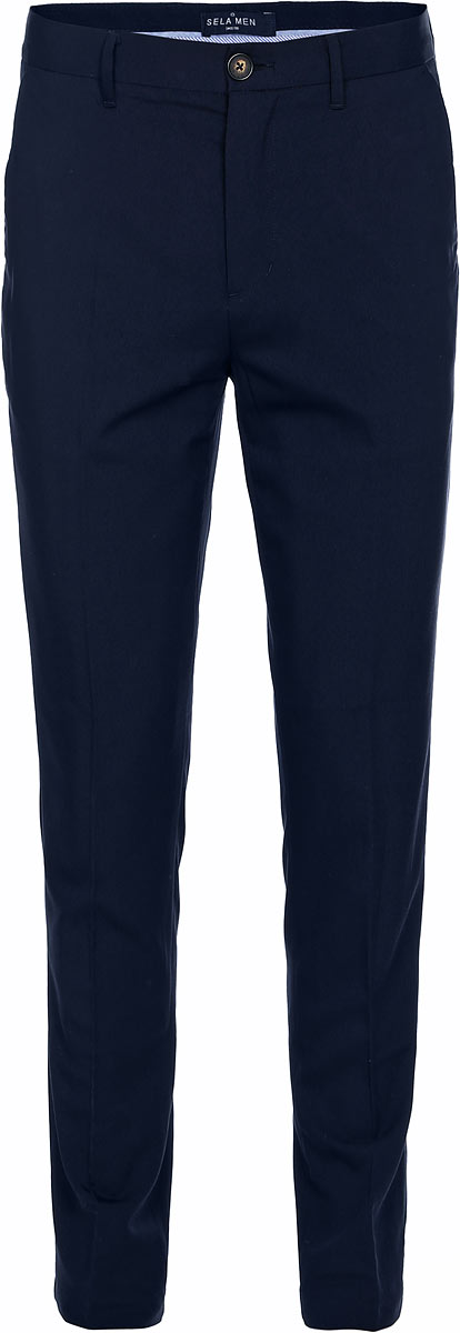 Брюки мужские Sela, цвет: синий. P-415/043-7310. Размер 48P-415/043-7310Мужские брюки Sela выполнены из качественного материала. Классическая модель на талии застегивается на пуговицу и имеет ширинку на застежке-молнии. На поясе имеются шлевки для ремня. Брюки оформлены спереди двумя втачными карманами с косыми срезами и двумя втачными карманами сзади.