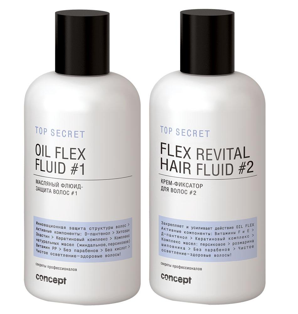 Сoncept Секреты профессионалов Top secret Масляный флюид-защита волос #1Oil flex fluid #1, 250мл34238Масляный флюид-защита волос #1 (Oil flex fluid) OIL FLEX FLUID максимально защитит структуру волос во время осветления и любых техник мелирования. В состав входят только самые активные компоненты: D-пантенол, хитозан, эластин, кератиновый комплекс, витамин РР. Продукт добавляется в осветляющий порошок или крем для осветления. Для работы понадобится всего лишь 5мл на 30г порошка. Без парабенов и кислот.Крем-фиксатор для волос # 2 (Flex revital fluid)FLEX REVITAL FLUID усилит и закрепит действие OIL FLEX FLUID, нейтрализует воздействие осветляющей смеси, разгладит структуру и выровняет кутикулярный слой. В состав препаратов входят только самые высокоэффективные ингредиенты: D-пантенол, Хитозан, Эластин, Кератиновый комплекс, Витамины F и E, миндальное и персиковое масло. Без парабенов.(!) Помните : технология предусматривает обязательное применение двух препаратов!