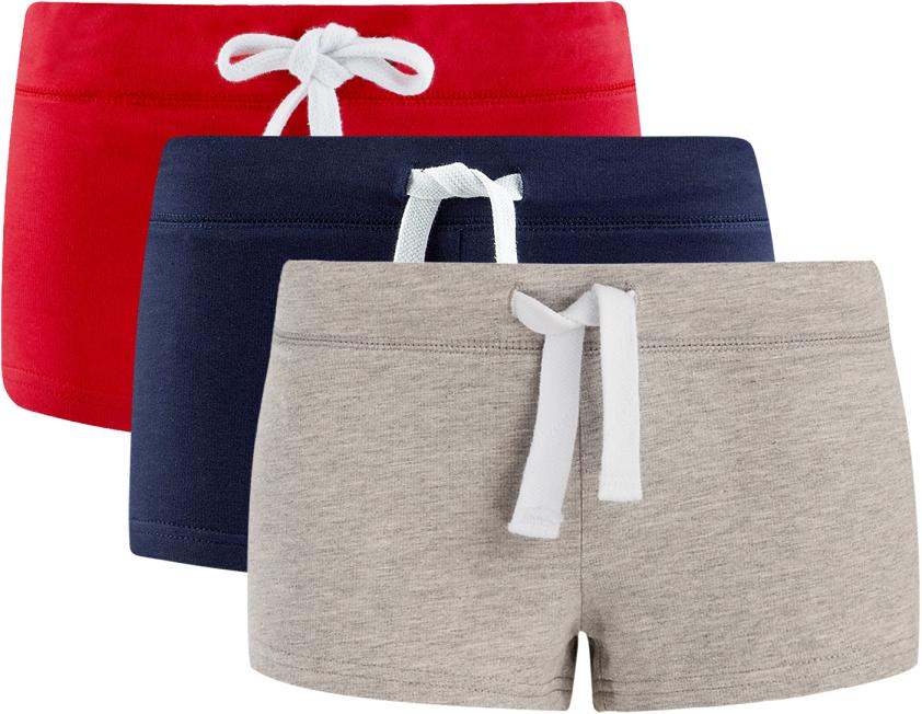 Шорты женские oodji Ultra, цвет: красный, темно-синий, серый, 3 шт. 17001029T3/46155/19B5N. Размер M (46)17001029T3/46155/19B5NУдобные женские шорты oodji Ultra изготовлены из натурального хлопка.Шорты стандартной посадки имеют эластичный пояс на талии, дополненный шнурком.