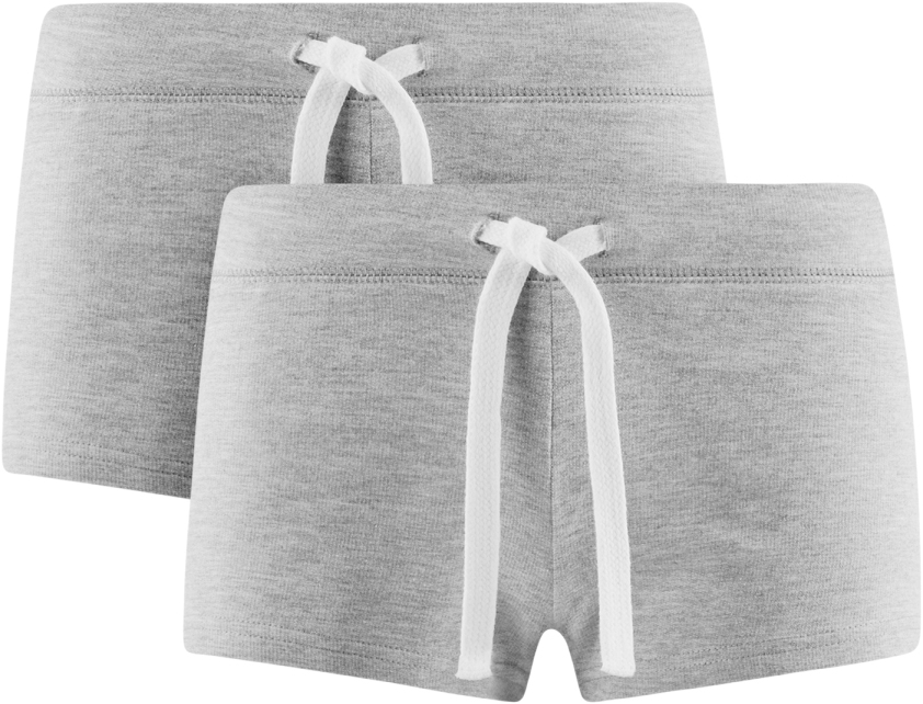 Шорты женские oodji Ultra, цвет: серый меланж, 2 шт. 17001029T2/46155/2300M. Размер XL (50)
