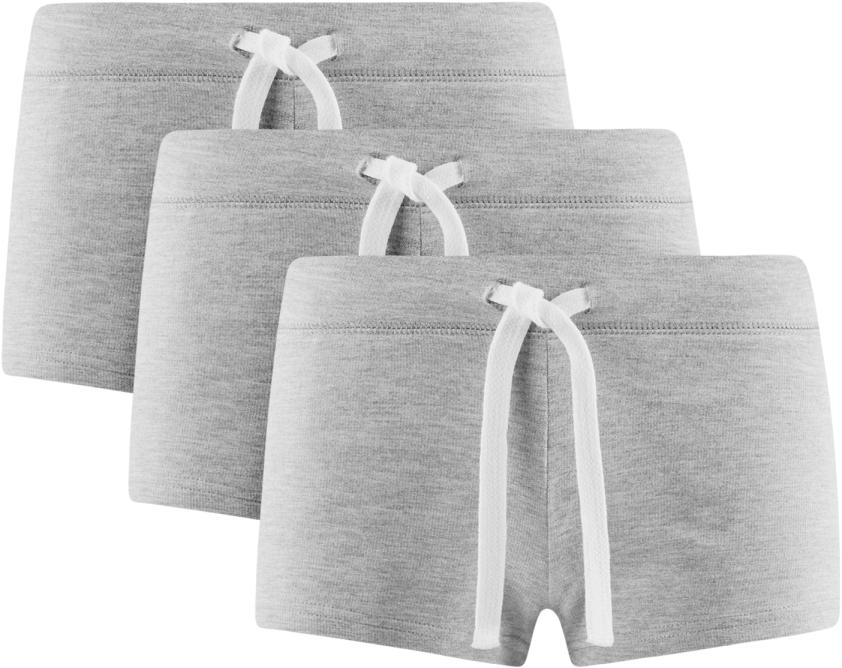 Шорты женские oodji Ultra, цвет: серый меланж, 3 шт. 17001029T3/46155/2300M. Размер XL (50)