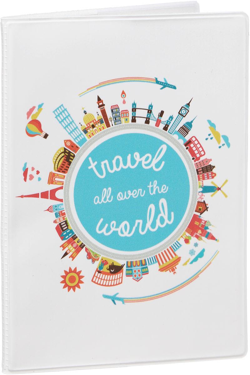 Обложка для паспорта Kawaii Factory All over the world, цвет: белый. KW064-000043 обложка для паспорта kawaii factory f ck yeah цвет белый голубой kw064 000287