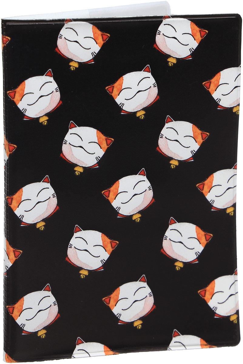 Обложка для паспорта Kawaii Factory Манэки-Нэко, цвет: черный. KW064-000297 обложка для паспорта kawaii factory feather blue цвет синий kw064 000030