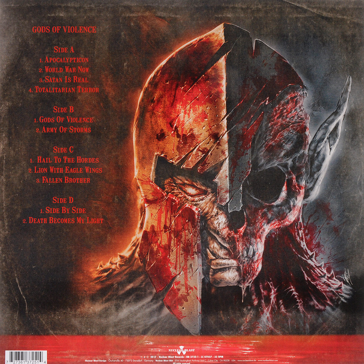 Kreator.  Gods Of Violence (2 LP) Волтэкс-инвест,Nuclear Blast Records