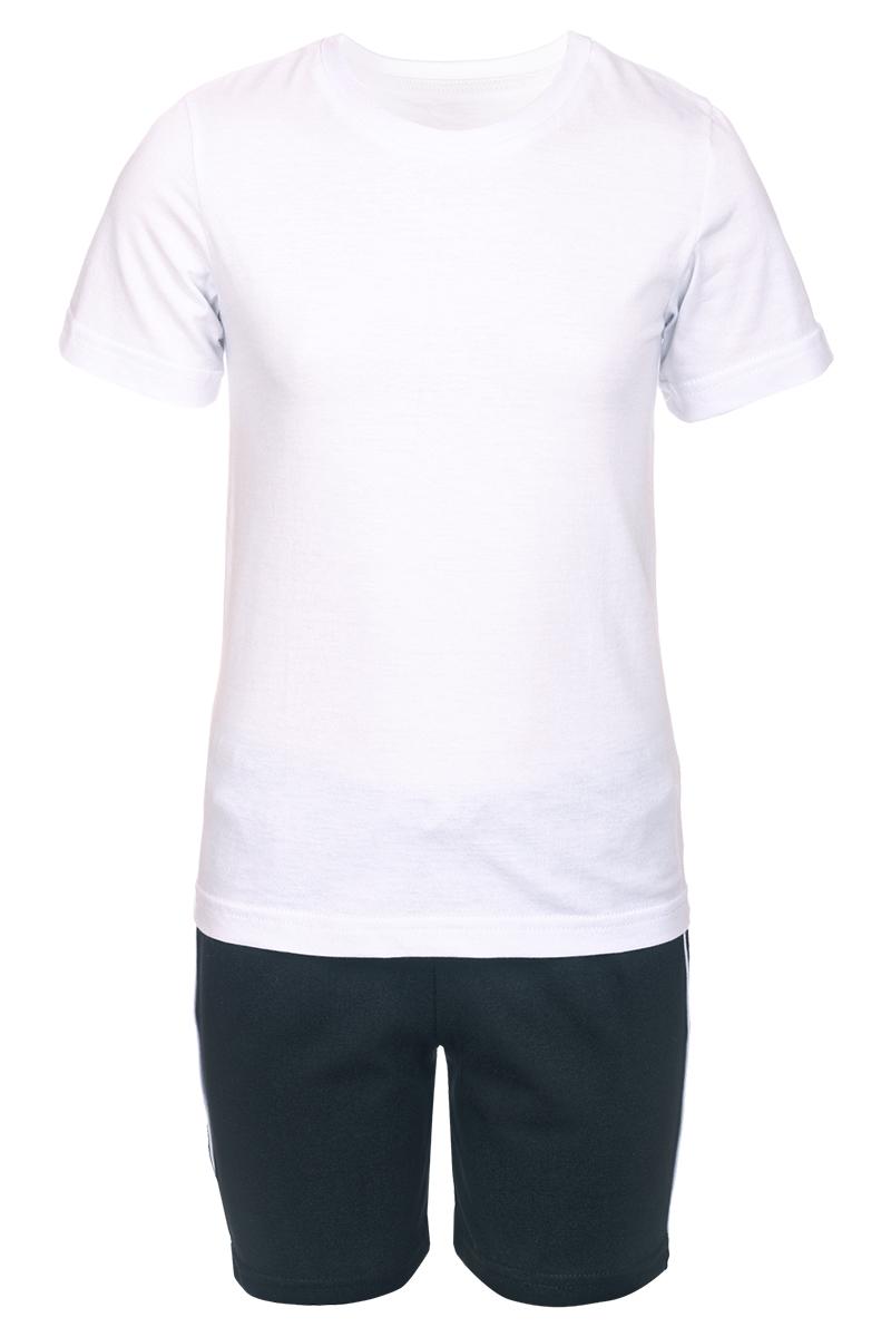 Комплект одежды детский M&D, цвет: белый. КМ141101. Размер 128КМ141101Комплект M&D подарит не только комфорт и уют, но и понравится ребенку благодаря своему веселому и приятному дизайну. Изготовленный из эластичного хлопка, он тактильно приятный, хорошо пропускает воздух, а благодаря свободному крою не стесняет движений. Футболка с круглым вырезом горловины и короткими рукавами имеет однотонный цвет. Шорты имеют широкую эластичную резинку, благодаря чему они не сдавливают животик ребенка и не сползают.