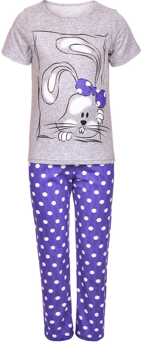 Пижама для девочки M&D, цвет: серый меланж. ПЖ18110282. Размер 128