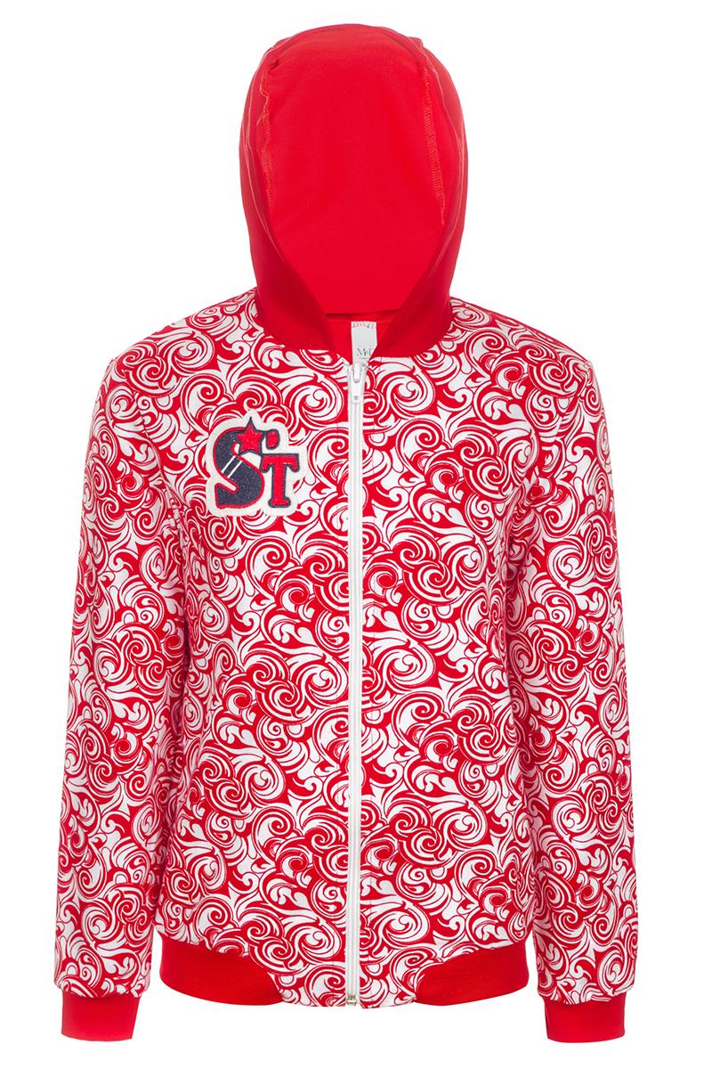 Толстовка для девочки M&D, цвет: красный. WJK27008S07. Размер 134WJK27008S07Модная толстовка с капюшоном выполнена из эластичного хлопка. Модель с длинными рукавами застегивается спереди на молнию.