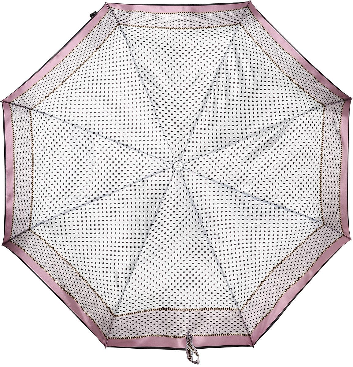Зонт женский Fabretti, автомат, 3 сложения, цвет: бледно-розовый, белый. L-17100-7
