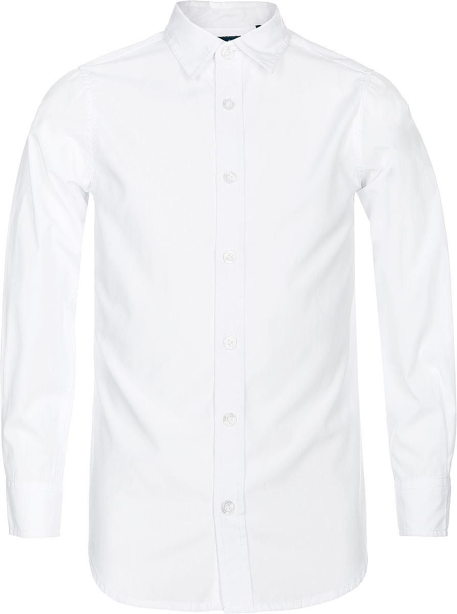 Рубашка для мальчика Sela, цвет: белый. H-812/206-7310. Размер 140, 10 летH-812/206-7310Рубашка для мальчика Sela выполнена из высококачественного материала. Модель с отложным воротником и длинными рукавами застегивается на пуговицы. Манжеты застегиваются на пуговицы.