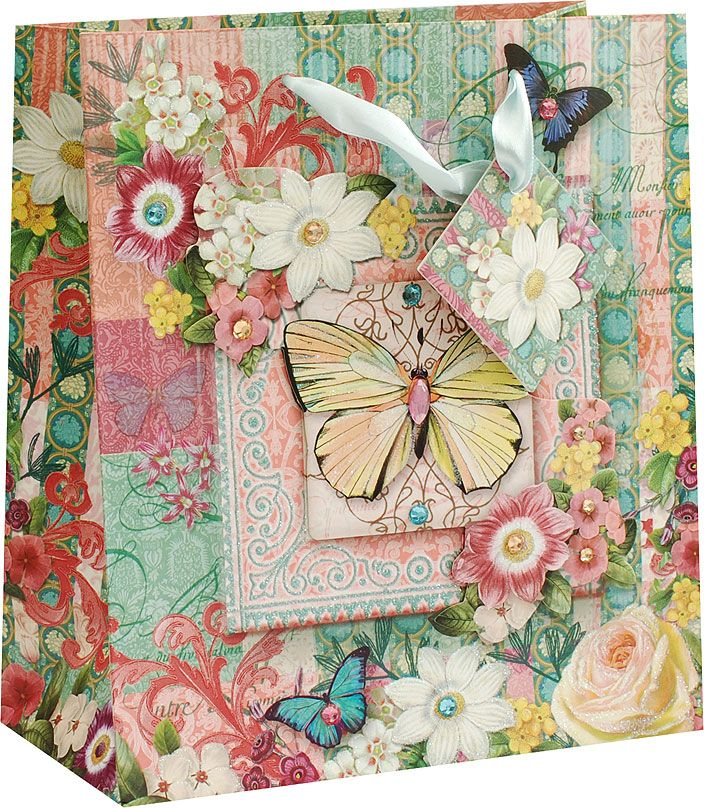 Пакет подарочный Белоснежка Бабочки среди цветов, 20,3 х 10,3 х 23 см1376-SB