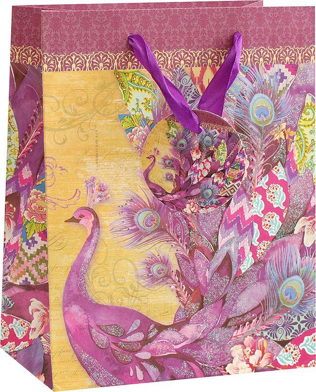 Пакет подарочный Белоснежка Фиолетовый павлин, 26 х 12 х 32 см1611-SB