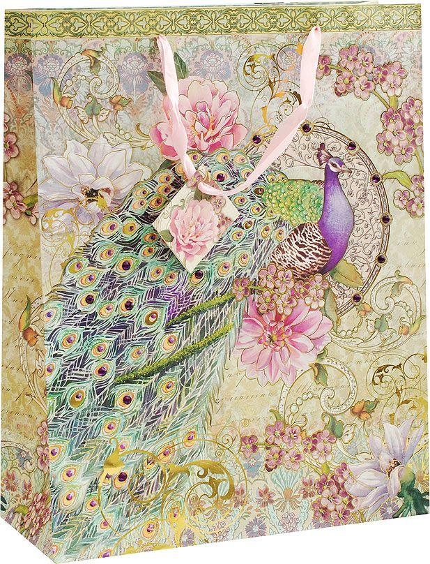 Пакет подарочный Белоснежка Павлин в цветах, 30,3 х 12,8 х 38,8 см1618-SB