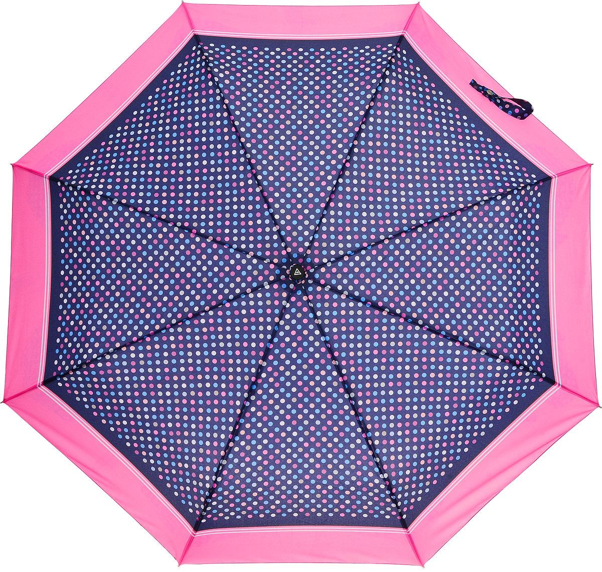 Зонт женский Fabretti, автомат, 3 сложения, цвет: синий, розовый. L-16101-3