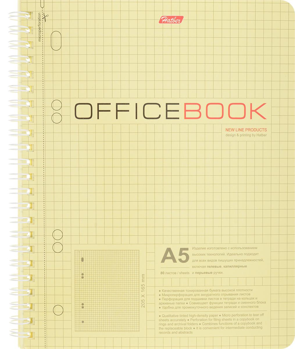 Hatber Тетрадь Office Book 80 листов в клетку цвет светло-желтый80Т5влB5гр_06602Тетрадь Hatber Office Book подойдет как школьнику, так и студенту.Обложка, выполненная из плотного картона, позволит сохранить тетрадь в аккуратном состоянии на протяжении всего времени использования. Внутренний блок тетради, соединенный металлическим гребнем, состоит из 80 листов желтой бумаги в серую клетку без полей.