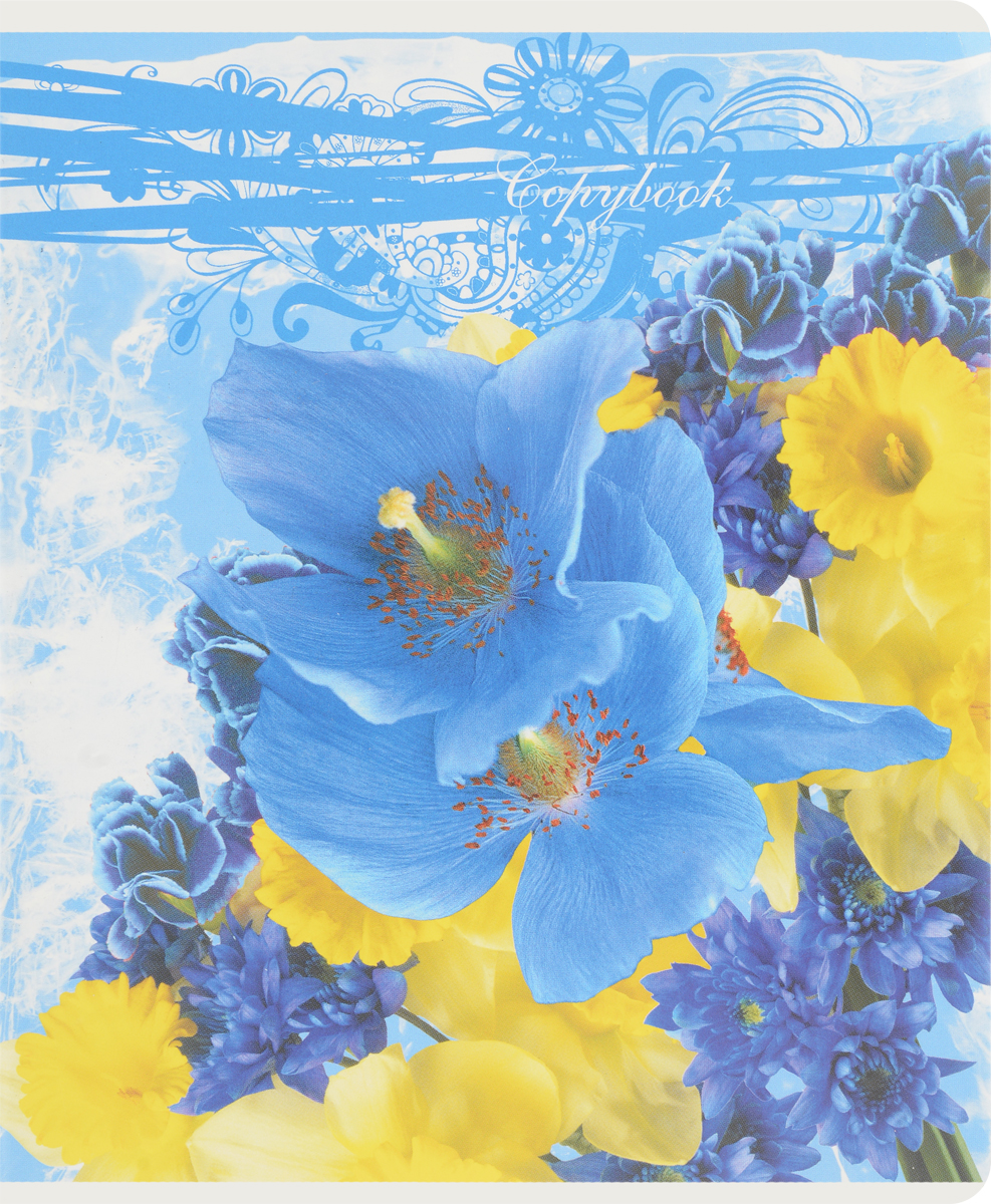 Полиграфика Тетрадь Floral Melody 96 листов в клетку цвет голубой4601921376029Тетрадь Полиграфика Floral Melody подойдет как школьнику, так и студенту. Обложка тетради выполнена из картона и дополнена красочным изображением в виде цветов. Внутренний блок состоит из 96 листов белой бумаги. Стандартная линовка в голубую клетку дополнена красными полями. Листы тетради соединены металлическими скобами.