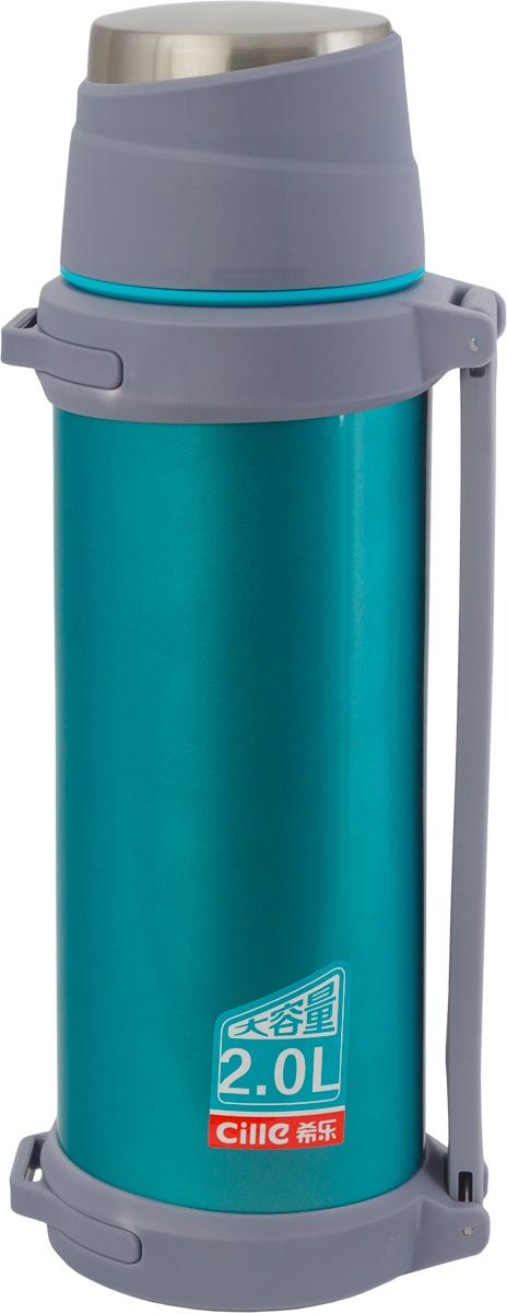 Термос Indiana Cille, цвет: синий , 2 л320400003Термос Indiana Cille, выполненный из пластика и нержавеющей стали, позволяет сохранять напитки горячими и холодными длительное время. Термос надежно закрывается пробкой, которая снабжена кнопкой для дозирования напитков, позволяющая наливать жидкости без отвинчивания. На пробку одевается откручивающаяся крышка. Прочная эргономичная ручка делает использование термоса легким и удобным.Термос Indiana Cille отлично подойдет для хранения и транспортировки жидкостей.