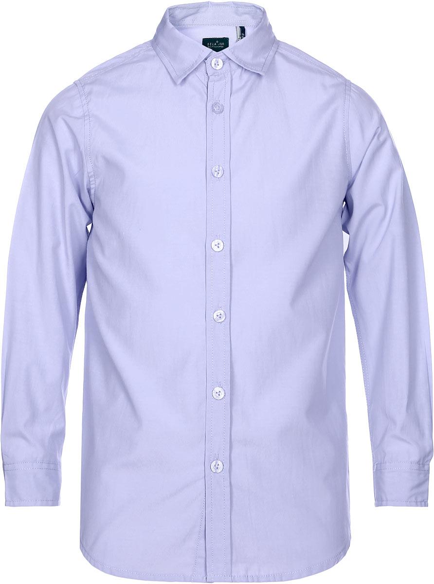 Рубашка для мальчика Sela, цвет: фиолетовый. H-812/211-7310. Размер 128, 8 летH-812/211-7310Рубашка для мальчика Sela выполнена из высококачественного материала. Модель с отложным воротником и длинными рукавами застегивается на пуговицы. Манжеты застегиваются на пуговицы.