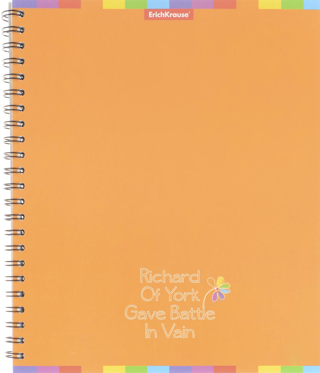 Erich Krause Тетрадь Rainbow 60 листов в клетку цвет оранжевый35636_оранжевыйОбщая тетрадь Erich Krause Rainbow на металлическом гребне пригодится как школьнику, так и студенту. Такое практичное и надежное крепление позволяет отрывать листы и полностью открывать тетрадь на столе. Обложка изготовлена из картона. Внутренний блок выполнен из белой бумаги в стандартную клетку без полей. Тетрадь содержит 60 листов формата А5.Вне зависимости от профессии и рода деятельности у человека часто возникает потребность сделать какие-либо заметки. Именно поэтому всегда удобно иметь эту тетрадь под рукой, особенно если вы творческая личность и постоянно генерируете новые идеи.