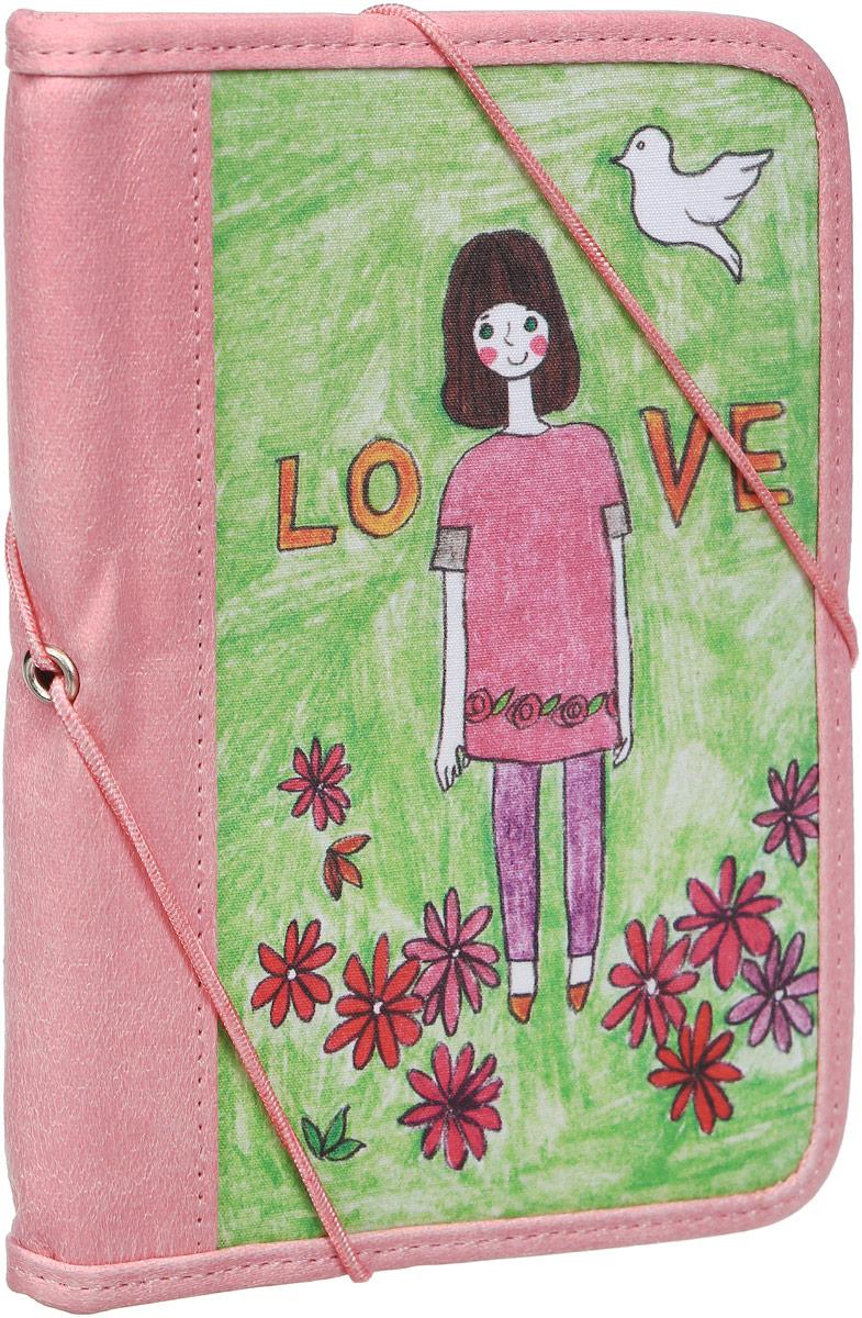 Обложка для паспорта Kawaii Factory Девочка-любовь, цвет: зеленый, розовый. KW064-000231 обложка для паспорта the wild kawaii factory