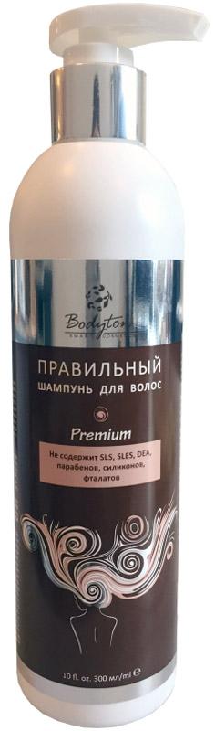 Bodyton Правильный шампунь для волос, 300 мл2720152Premium. Не содержит SLS, SLES, DEA, парабенов, силиконов, фталатов ШАМПУНЬ ДЛЯ ВОЛОС С МОРСКИМ КОЛЛАГЕНОМ И КОМПЛЕКСОМ АМИНОКИСЛОТ: Богатый натуральный по составу шампунь без сульфатов и парабенов бережно очищает и питает волосы и кожу головы. Обеспечивает восстановление структуры повреждённых волос. Защищает от воздействия неблагоприятных факторов окружаю-щей среды. Помогает сохранить насыщенность и яркость цвета натуральных и окрашенных волос. Подходит для всех типов волос. Соответствует требованиям ТР ТС 009/2011.ГОСТ 31696-2012