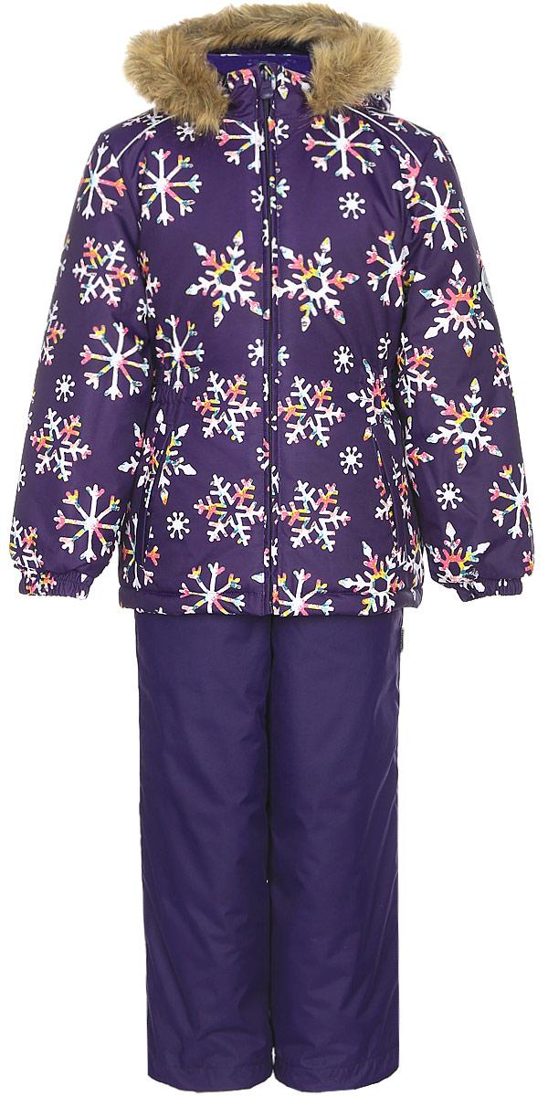 Комплект одежды для девочки Huppa Wonder: куртка, полукомбинезон, цвет: темно-лилoвый. 41950030-71673. Размер 12841950030-71673Комплект одежды Huppa Wonder состоит из куртки и полукомбинезона. Куртка оснащена ветрозащитной планкой по всей длине молнии с защитой подбородка и безопасным съемным капюшоном. Полукомбинезон очень практичен: хорошо закрывает грудку и спинку ребенка. Вечерние прогулки в этом костюме будут не только приятными, но и безопасными благодаря светоотражающим элементам на куртке и полукомбинезоне.
