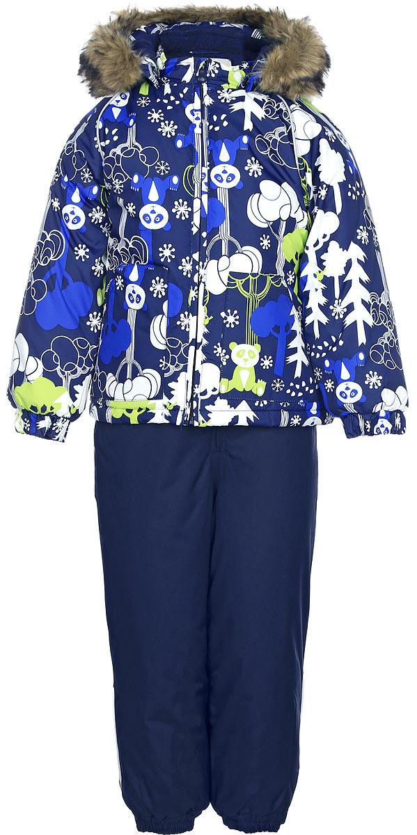 Комплект одежды для мальчика Huppa Avery: куртка, полукомбинезон, цвет: темно-синий. 41780030-73286. Размер 9241780030-73286Комплект одежды Huppa Avery состоит из куртки и полукомбинезона. Комплект выполнен из высококачественного полиэстера. Ткань с обратной стороны покрыта слоем полиуретана с микропорами, который обеспечивает влагонепроницаемость. Важнейшие швы проклеены водостойкой лентой. Легкий синтетический утеплитель нового поколения HuppaThetm не позволяет проникнуться внутрь холодному воздуху и обеспечивает высокую теплоизоляцию изделий. Куртка с воротником-стойкой и съемным капюшоном застегивается на застежку-молнию с защитой подбородка. Капюшон оформлен искусственным мехом. Манжеты рукавов присборены на резинки. Спереди расположены два накладных кармана. Полукомбинезон очень практичен: хорошо закрывает грудку и спинку ребенка. Застегивается на застежку-молнию. Изделие оснащено широкими эластичными регулируемыми лямки. Низ брючин присборен на резинки. Вечерние прогулки в этом костюме будут не только приятными, но и безопасными благодаря светоотражающим элементам на куртке и полукомбинезоне.