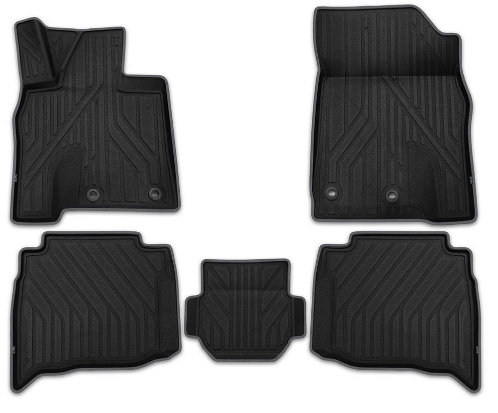 Набор автомобильных ковриков Kvest 3D, для Toyota Land Cruiser 200 2015, в салон, цвет: черный, 5 штKVESTTYT00001KПри производстве автомобильных ковриков Kvest 3D использован инновационный материал Polystar, с ярко выраженной шероховатой поверхностью, которая обеспечивает противоскользящий эффект. Технологичный дизайн рисунка и нубуковая окантовочная лента придают завершенность и подчеркивают исключительность продукта. Каждый набор упакован в коробку с инструкцией по установке фиксаторов и брошюрой, содержащей описание всех достоинств ковров Kvest. Функциональность: идеально повторяет геометрию пола автомобиля; площадка отдыха левой ноги водителя полностью закрыта; высокий борт сберегает пол и другие элементы салона; высокий профиль объемной текстуры ковриков защищает обувь от грязи, воды и соляной смеси. Безопасность: крепление к полу автомобиля с помощью фиксаторов, противоскользящий эффект, уникальная фактура нижней поверхности ковриков препятствует их смещению. Дизайн: широкая цветовая гамма, дополняющая стиль автомобиля; эффект «шагреневой кожи»; нубуковая окантовочная лента.Уважаемые клиенты, обращаем ваше внимание, что фотографии на коврики универсальные и не отражают реальную форму изделия. При этом само изделие идет точно под размер указанного автомобиля.
