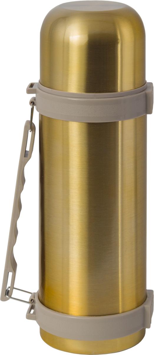 Термос Indiana H003, цвет: золотистый, бежевый, 1,2 л320400033Термос Indiana H003, выполненный из пластика и нержавеющей стали, позволяет сохранять напитки горячими и холодными длительное время. Термос надежно закрывается пластиковой пробкой, которая снабжена кнопкой для дозирования напитков, позволяющая наливать жидкости без отвинчивания. Эргономичная подвижная ручка делает использование термоса легким и удобным.Термос Indiana H003 отлично подойдет для хранения и транспортировки жидкостей.