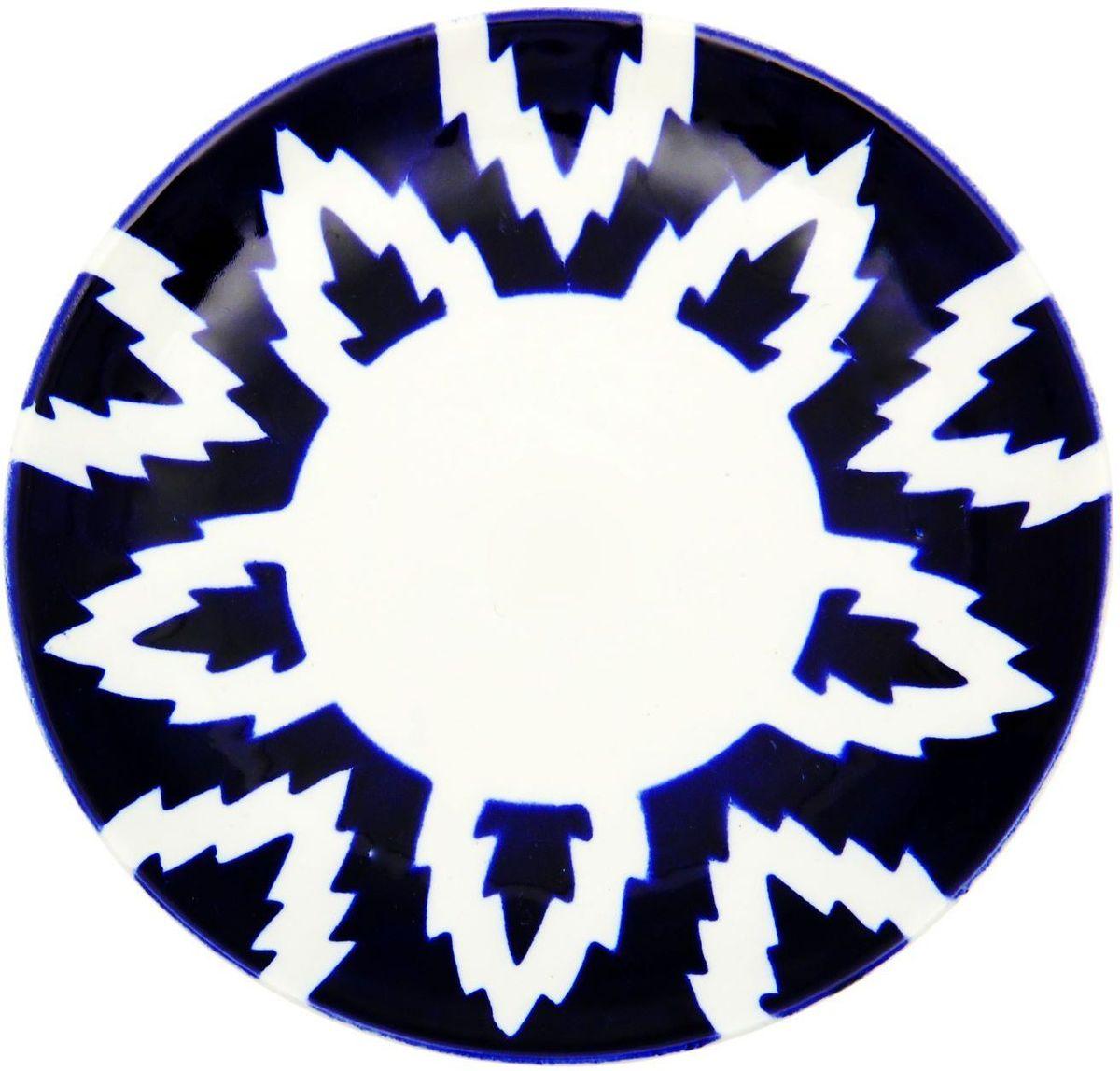 Тарелка Turon Porcelain Атлас, цвет: белый, синий, диаметр 22,5 см1625382Узбекская посуда известна всему миру уже более тысячи лет. Ей любовались царские особы, на ней подавали еду для шейхов и знатных персон. Формулы красок и глазури передаются из поколения в поколение. По сей день качественные расписные изделия продолжают восхищать совершенством и завораживающей красотой.Данный предмет подойдёт для повседневной и праздничной сервировки. Дополните стол текстилем и салфетками в тон, чтобы получить элегантное убранство с яркими акцентами.Национальная узбекская роспись «Атлас» имеет симметричный геометрический рисунок. Узоры, похожие на листья, выводятся тонкой кистью, фон заливается тёмно-синим кобальтом. Синий краситель при обжиге слегка растекается и придаёт контуру изображений голубой оттенок. Густая глазурь наносится толстым слоем, благодаря чему рисунок мерцает.