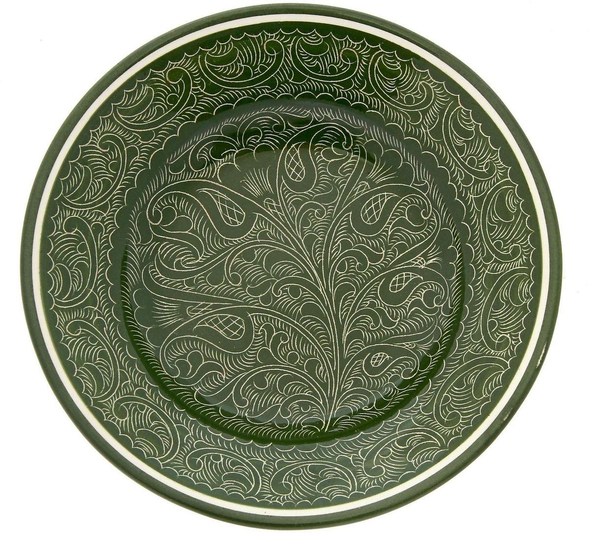 Тарелка глубокая Риштанская керамика, цвет: зеленый, диаметр 20 см. 19234471923447Узбекская посуда известна всему миру уже более тысячи лет. Ей любовались царские особы, на ней подавали еду шейхам и знатным персонам. Формула глазури передается из поколения в поколение. По сей день качественные изделия продолжают восхищать своей идеальной формой.Глубокая тарелка Риштанская керамика подойдёт для повседневной и праздничной сервировки. Дополните стол текстилем и салфетками в тон, чтобы получить элегантное убранство с яркими акцентами.Диаметр: 20 см.