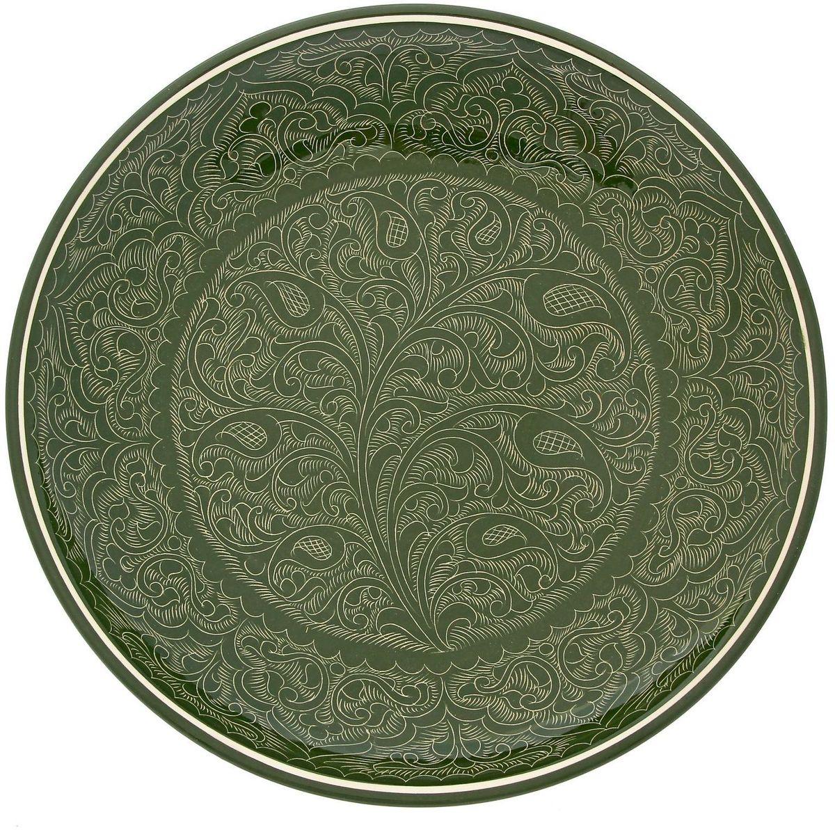 Ляган Риштанская керамика, цвет: зеленый, диаметр 31 см. 19234531923453Ляган Риштанская керамика - это не просто обеденный атрибут, это украшение стола. Посуда с национальной росписью станет отменным подарком для ценителей высокородной посуды.Риштан - город на востоке Узбекистана, один из древнейших в Ферганской долине. С давних времен Риштан славится своим гончарным искусством изготовления цветной керамики. Красноватую глину для изделия добывают в самом городе. Мастера утверждают, что их глина настолько высокого качества, что даже не нуждается в предварительной обработке. Дополните коллекцию кухонных аксессуаров пряными восточными нотами!