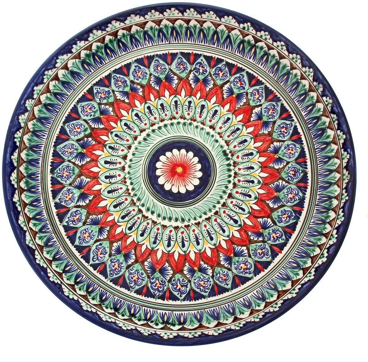 Ляган Риштанская керамика, диаметр 36 см. 19234681923468Ляган — это не просто обеденный атрибут, это украшение стола. Посуда с национальной росписью станет отменным подарком для ценителей высокородной посуды.Риштан — город на востоке Узбекистана, один из древнейших в Ферганской долине. С давних времён Риштан славится своим гончарным искусством изготовления цветной керамики. Красноватую глину для изделия добывают в самом городе. Мастера утверждают, что их глина настолько высокого качества, что даже не нуждается в предварительной обработке. Дополните коллекцию кухонных аксессуаров пряными восточными нотами.
