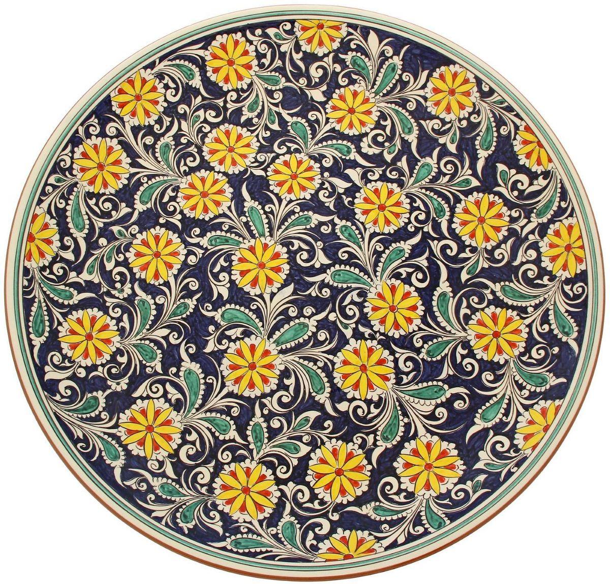 Ляган Риштанская керамика, диаметр 55 см. 19234781923478Ляган, выполненный из высококачественной керамики, отлично подойдет для подачи плова или фруктов. Такой элемент посуды является предметом национальной узбекской посуды.Ляган отлично подходит как для торжественных случаев, так и для повседневного использования. Он прекрасно оформит стол и станет отличным дополнением к вашей коллекции кухонной посуды.
