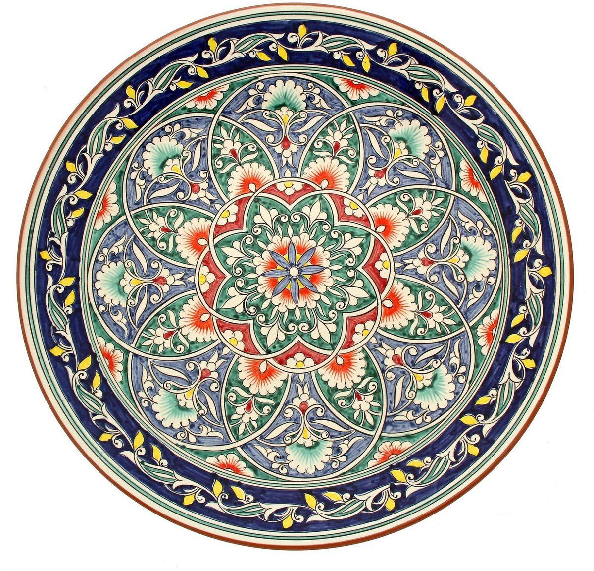 Ляган Риштанская керамика, диаметр 41 см. 19234821923482Ляган — это не просто обеденный атрибут, это украшение стола. Посуда с национальной росписью станет отменным подарком для ценителей высокородной посуды.Риштан — город на востоке Узбекистана, один из древнейших в Ферганской долине. С давних времён Риштан славится своим гончарным искусством изготовления цветной керамики. Красноватую глину для изделия добывают в самом городе. Мастера утверждают, что их глина настолько высокого качества, что даже не нуждается в предварительной обработке. Дополните коллекцию кухонных аксессуаров пряными восточными нотами.