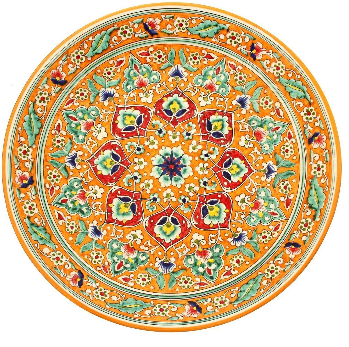 Ляган Риштанская керамика, диаметр 41 см. 19234881923488Ляган — это не просто обеденный атрибут, это украшение стола. Посуда с национальной росписью станет отменным подарком для ценителейвысокородной посуды.Ляган выполнен из глины высокого качества.Диаметр блюда составляет 41 см.