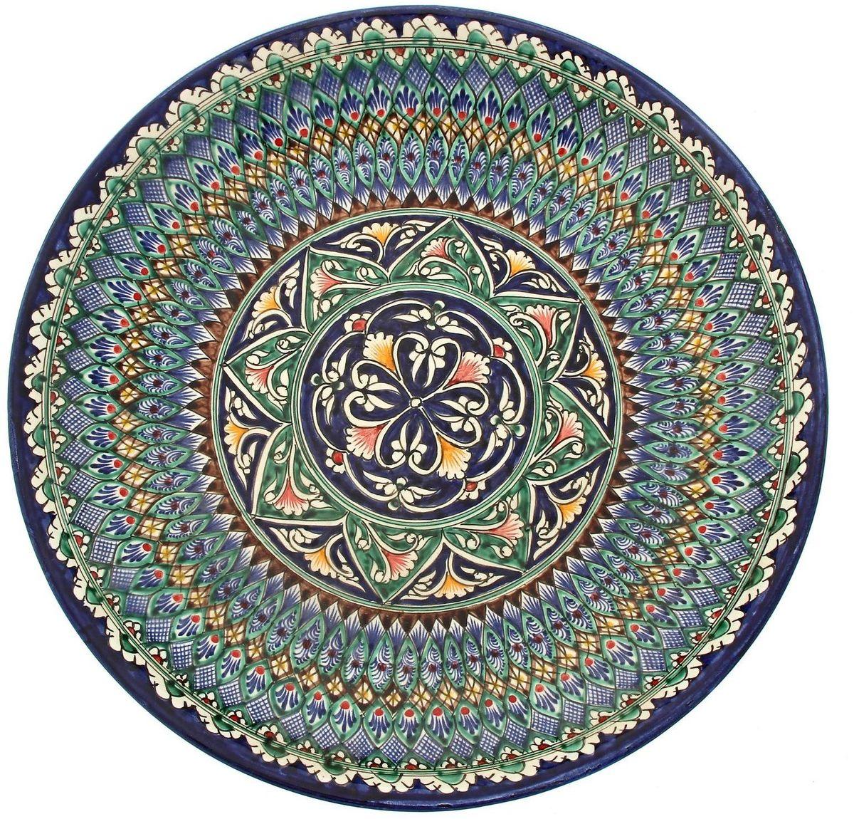 Ляган Риштанская керамика, диаметр 41 см. 19242191924219Ляган — это не просто обеденный атрибут, это украшение стола. Посуда с национальной росписью станет отменным подарком для ценителей высокородной посуды.Риштан — город на востоке Узбекистана, один из древнейших в Ферганской долине. С давних времён Риштан славится своим гончарным искусством изготовления цветной керамики. Красноватую глину для изделия добывают в самом городе. Мастера утверждают, что их глина настолько высокого качества, что даже не нуждается в предварительной обработке. Дополните коллекцию кухонных аксессуаров пряными восточными нотами.