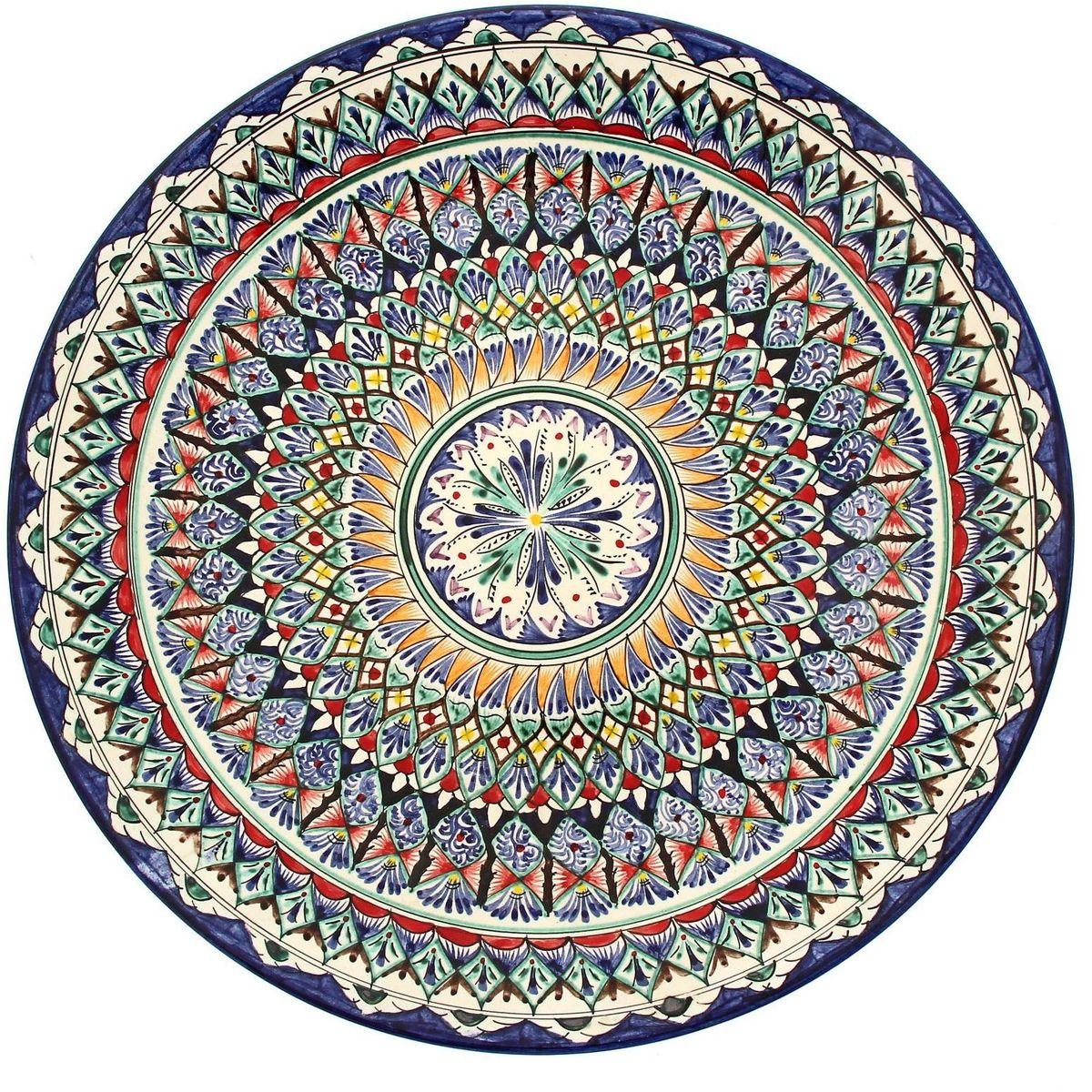 Ляган Риштанская керамика, цвет: синий, белый, диаметр 41 см. 19242231924223Ляган Риштанская керамика — это не просто обеденный атрибут, это украшение стола. Посуда с национальной росписью станет отменным подарком для ценителей высокородной посуды. Риштан — город на востоке Узбекистана, один из древнейших в Ферганской долине. С давних времен Риштан славится своим гончарным искусством изготовления цветной керамики. Красноватую глину для изделия добывают в самом городе. Мастера утверждают, что их глина настолько высокого качества, что даже не нуждается в предварительной обработке. Дополните коллекцию кухонных аксессуаров пряными восточными нотами.