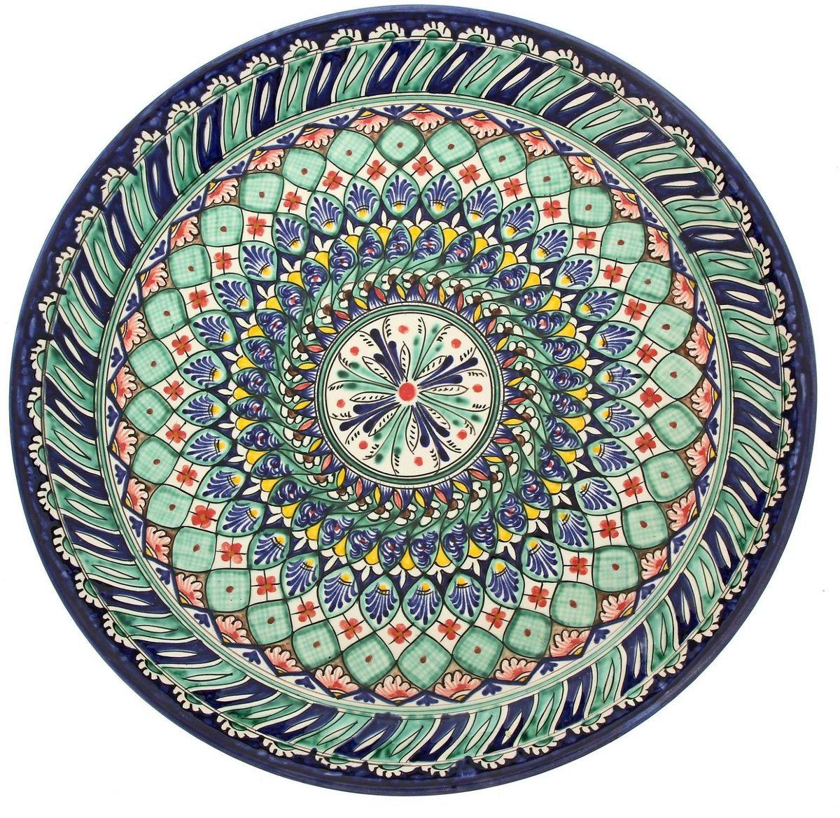 Ляган Риштанская керамика, диаметр 36 см. 19242241924224Ляган — это не просто обеденный атрибут, это украшение стола. Посуда с национальной росписью станет отменным подарком для ценителей высокородной посуды.Риштан — город на востоке Узбекистана, один из древнейших в Ферганской долине. С давних времён Риштан славится своим гончарным искусством изготовления цветной керамики. Красноватую глину для изделия добывают в самом городе. Мастера утверждают, что их глина настолько высокого качества, что даже не нуждается в предварительной обработке. Дополните коллекцию кухонных аксессуаров пряными восточными нотами.